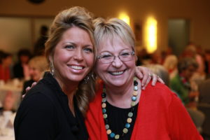 Breast cancer survivor speaker Heidi Marble with happy client, Marcia Anderson.